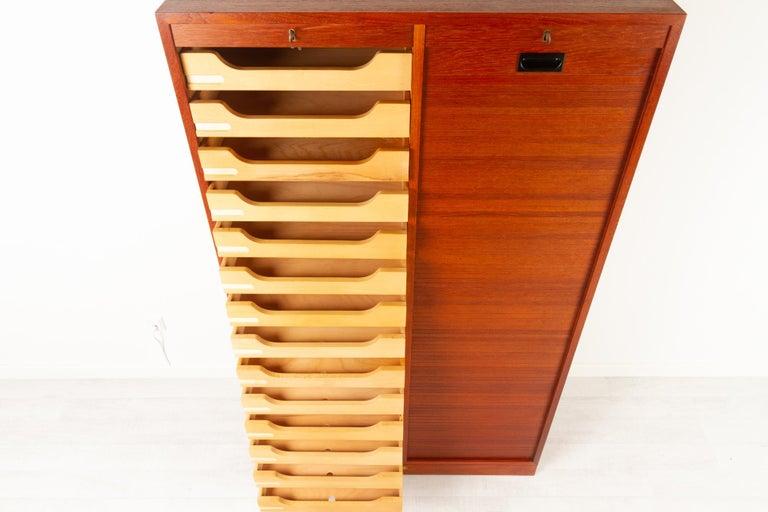 Vintage Danish Teak Cabinet with Tambour Doors, 1960s For Sale 1