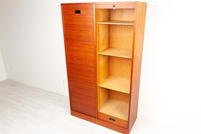 Vintage Danish Teak Cabinet with Tambour Doors, 1960s For Sale 2