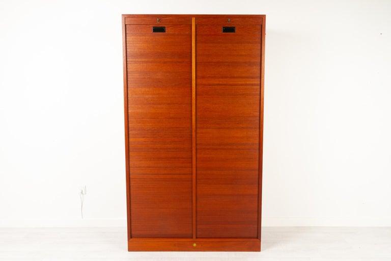 Vintage Danish Teak Cabinet with Tambour Doors, 1960s For Sale 3