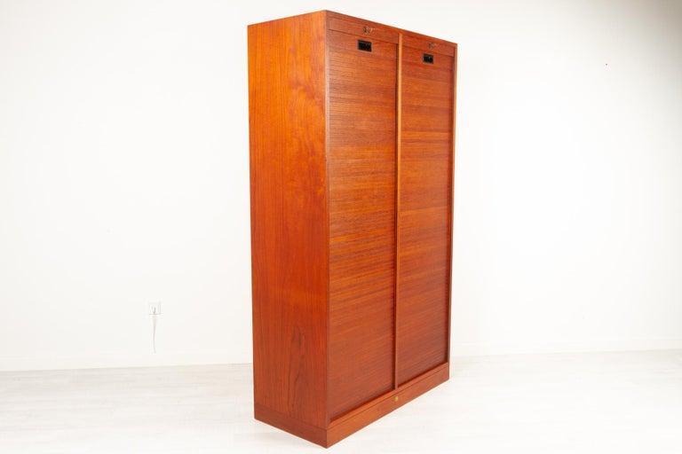 Vintage Danish Teak Cabinet with Tambour Doors, 1960s For Sale 4