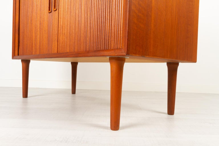Vintage Danish Teak Cabinet with Tambour Doors by Lyby Møbler, 1960s For Sale 5