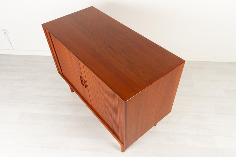 Vintage Danish Teak Cabinet with Tambour Doors by Lyby Møbler, 1960s For Sale 6