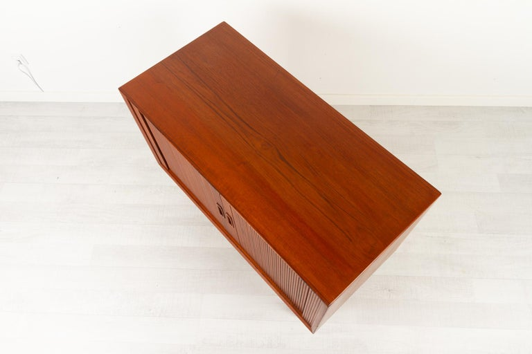 Vintage Danish Teak Cabinet with Tambour Doors by Lyby Møbler, 1960s For Sale 7