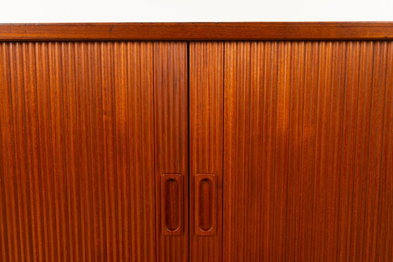 Vintage Danish Teak Cabinet with Tambour Doors by Lyby Møbler, 1960s For Sale 9