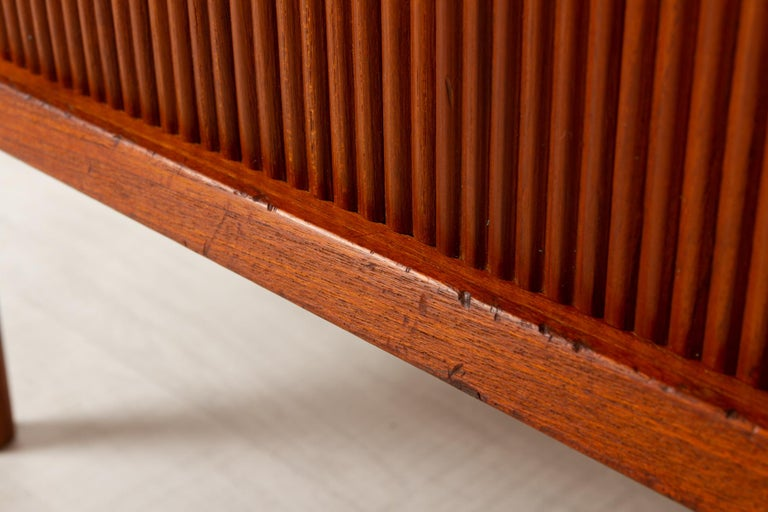 Vintage Danish Teak Cabinet with Tambour Doors by Lyby Møbler, 1960s For Sale 10