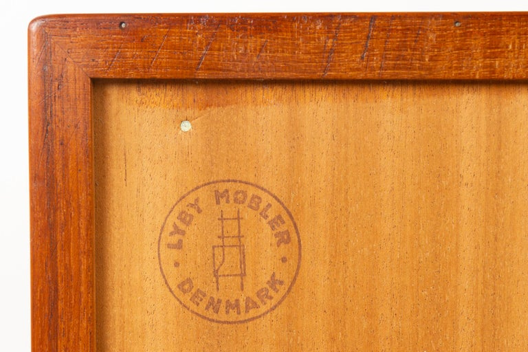 Vintage Danish Teak Cabinet with Tambour Doors by Lyby Møbler, 1960s For Sale 12