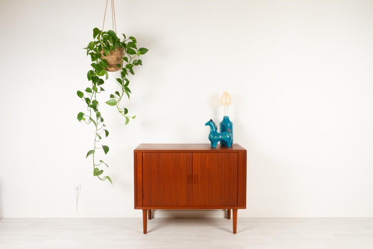 Vintage Danish Teak Cabinet with Tambour Doors by Lyby Møbler, 1960s For Sale 13