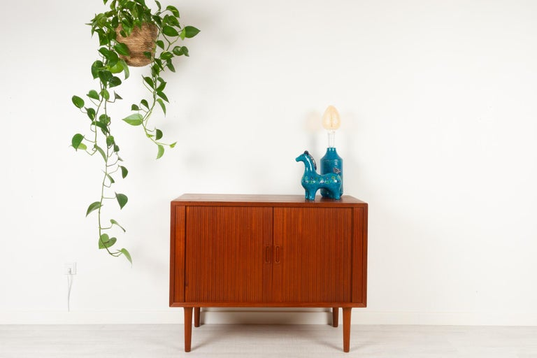 Vintage Danish Teak Cabinet with Tambour Doors by Lyby Møbler, 1960s For Sale 14