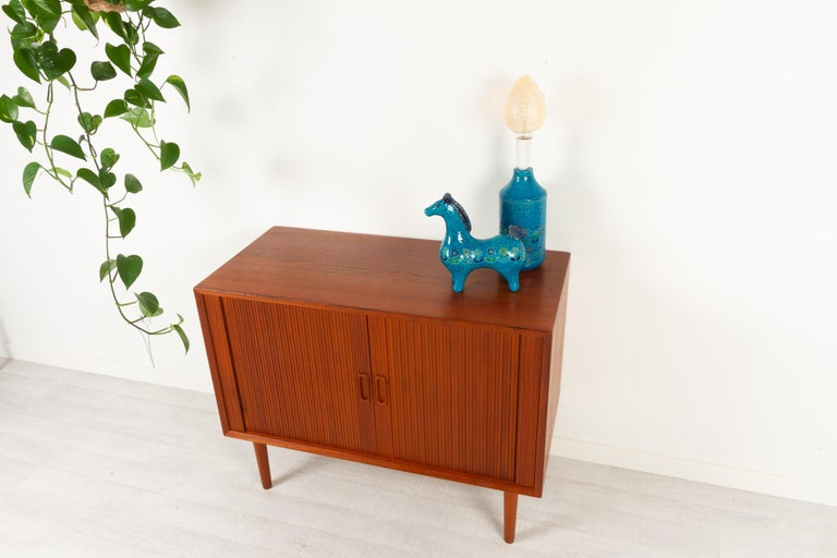 Vintage Danish Teak Cabinet with Tambour Doors by Lyby Møbler, 1960s For Sale 15