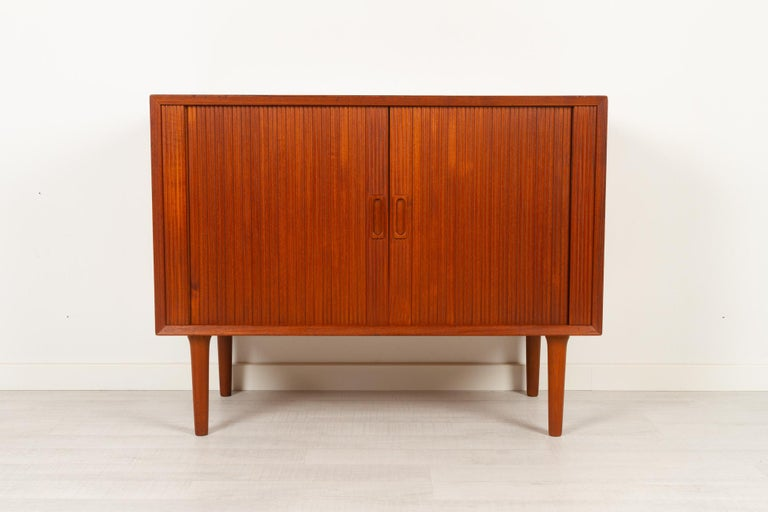 Mid-Century Modern Vintage Danish Teak Cabinet with Tambour Doors by Lyby Møbler, 1960s For Sale