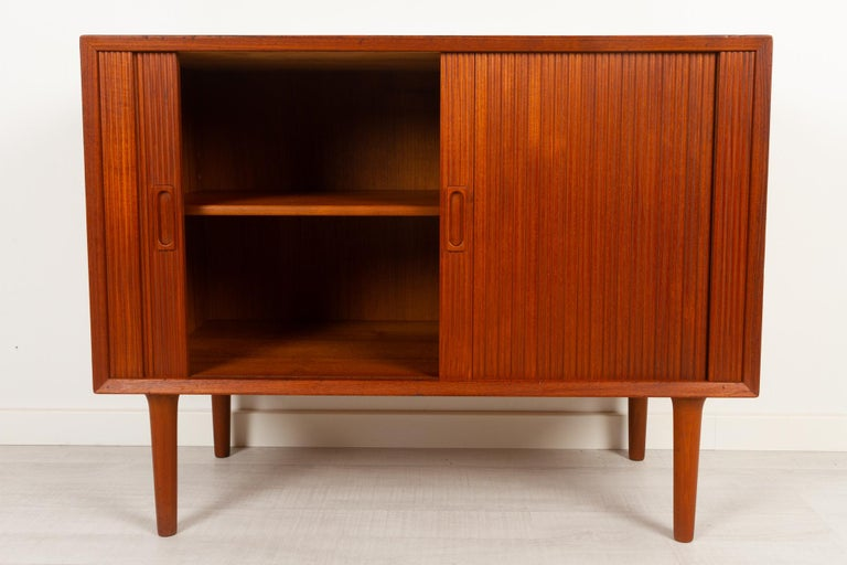 Mid-20th Century Vintage Danish Teak Cabinet with Tambour Doors by Lyby Møbler, 1960s For Sale