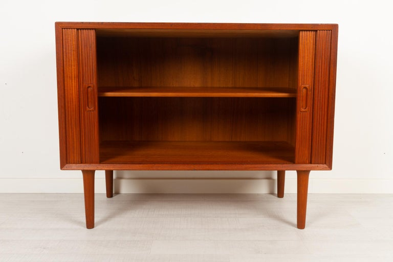 Vintage Danish Teak Cabinet with Tambour Doors by Lyby Møbler, 1960s For Sale 1