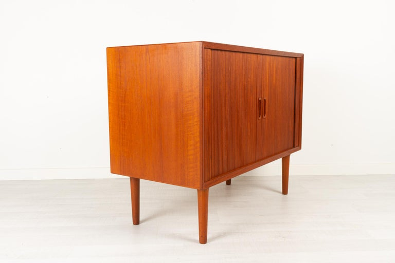Vintage Danish Teak Cabinet with Tambour Doors by Lyby Møbler, 1960s For Sale 3