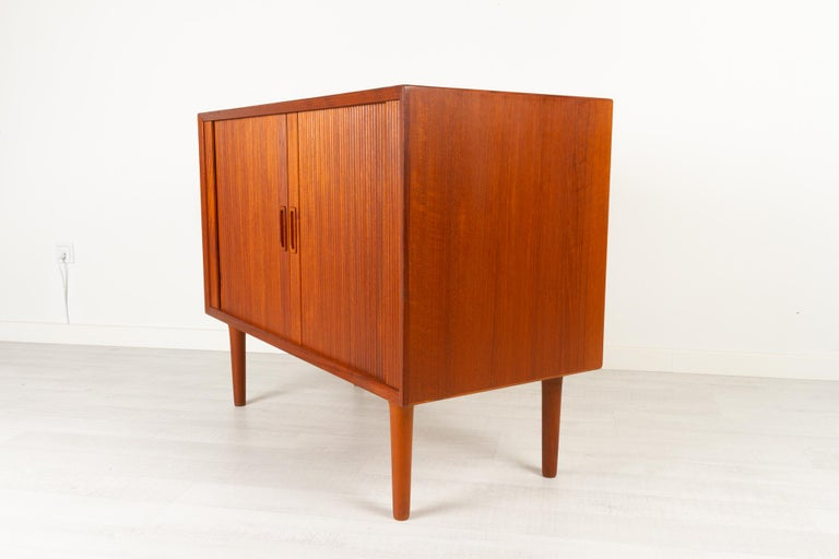 Vintage Danish Teak Cabinet with Tambour Doors by Lyby Møbler, 1960s For Sale 4