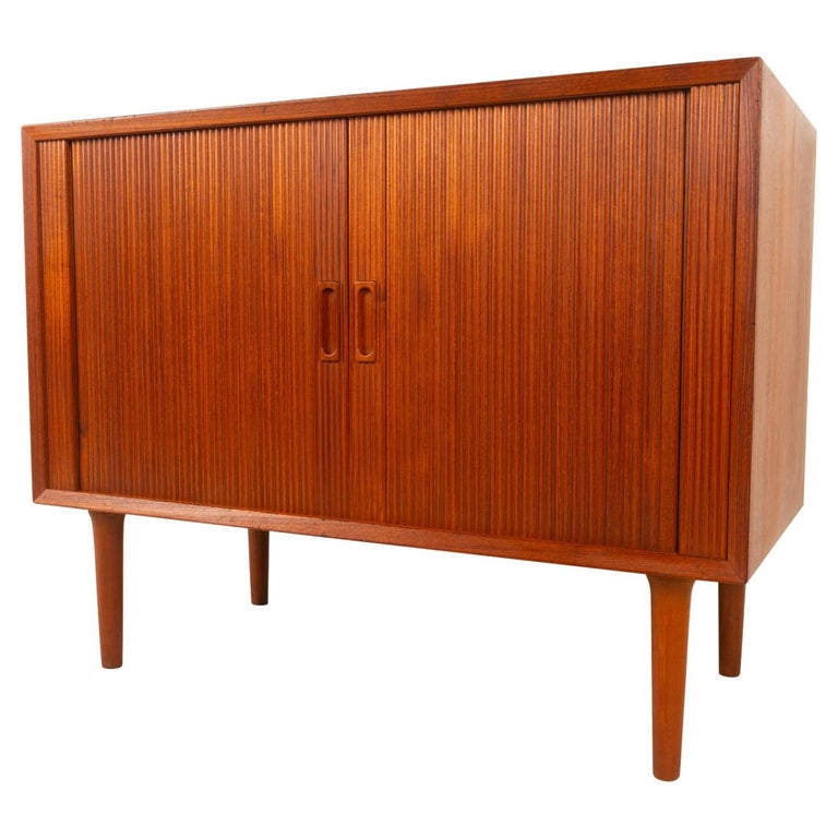 Vintage Danish Teak Cabinet with Tambour Doors by Lyby Møbler, 1960s For Sale