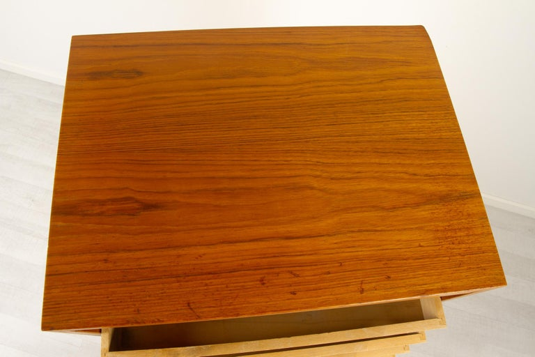 Vintage Danish Teak Cabinet with Tambour Front, 1960s For Sale 6