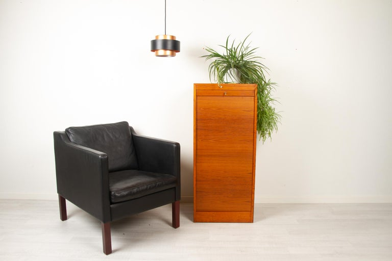 Vintage Danish Teak Cabinet with Tambour Front, 1960s For Sale 8