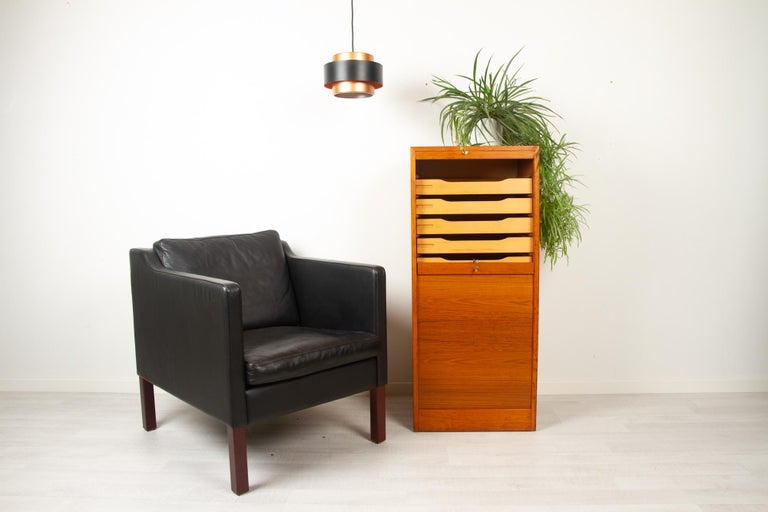 Vintage Danish Teak Cabinet with Tambour Front, 1960s For Sale 9