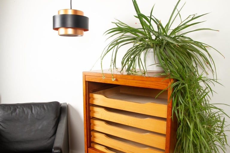 Vintage Danish Teak Cabinet with Tambour Front, 1960s For Sale 10