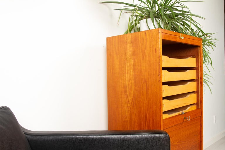 Vintage Danish Teak Cabinet with Tambour Front, 1960s For Sale 11