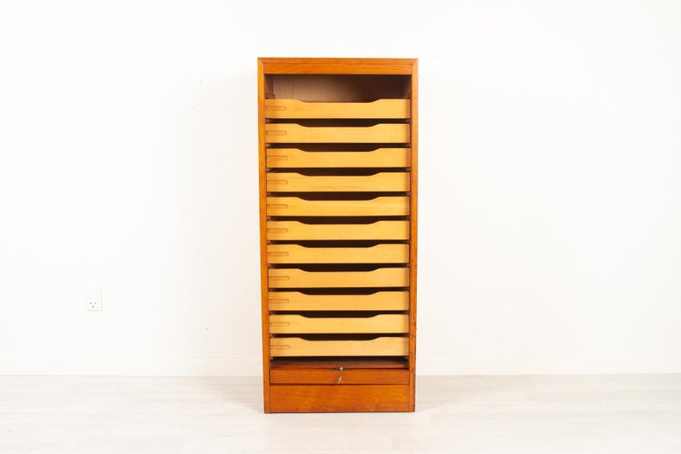 Mid-Century Modern Vintage Danish Teak Cabinet with Tambour Front, 1960s For Sale