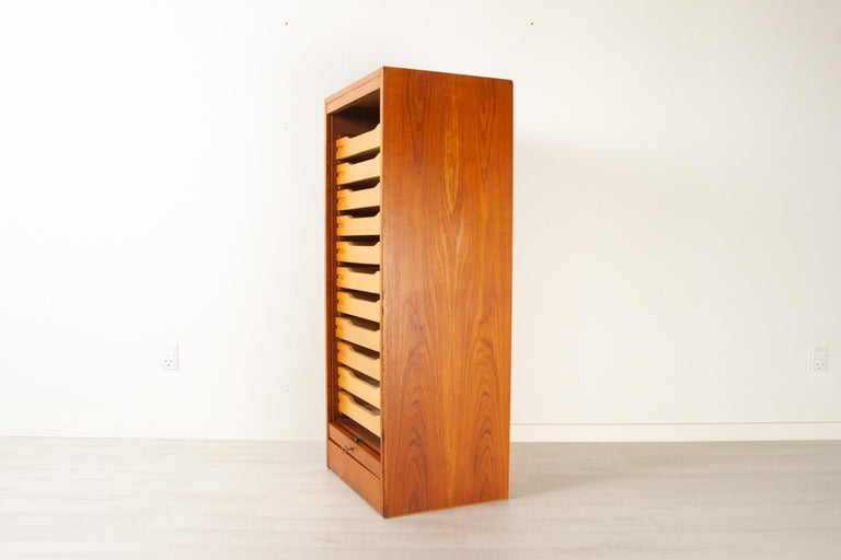 Vintage Danish Teak Cabinet with Tambour Front, 1960s In Good Condition For Sale In Nibe, Nordjylland