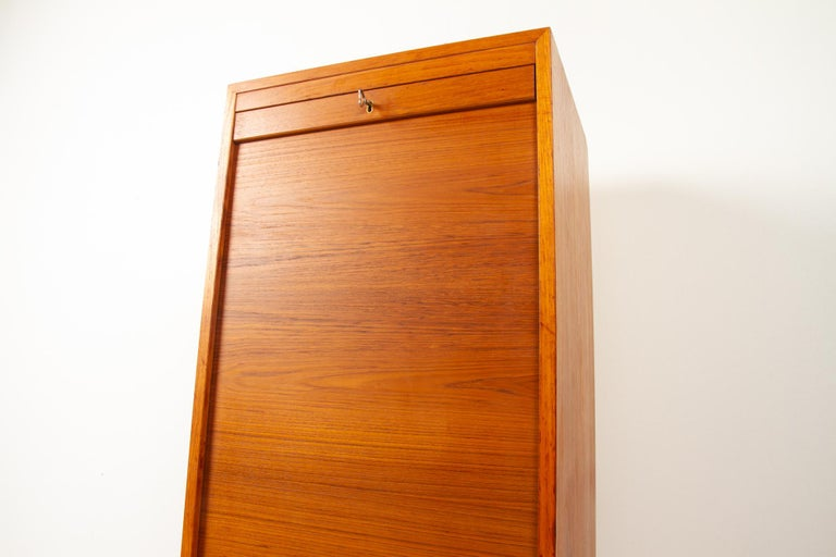 Vintage Danish Teak Cabinet with Tambour Front, 1960s For Sale 3
