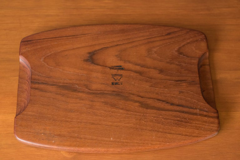 Vintage Danish Teak Charcuterie Serving Tray Board For Sale 1