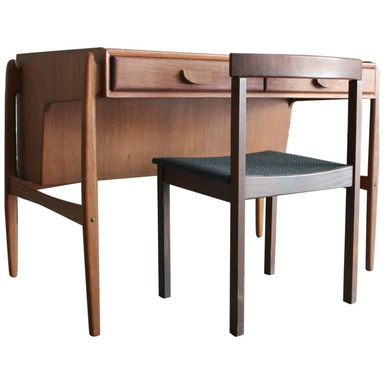 Vintage Danish Teak Desk with chair by Svend Madsen For Sale