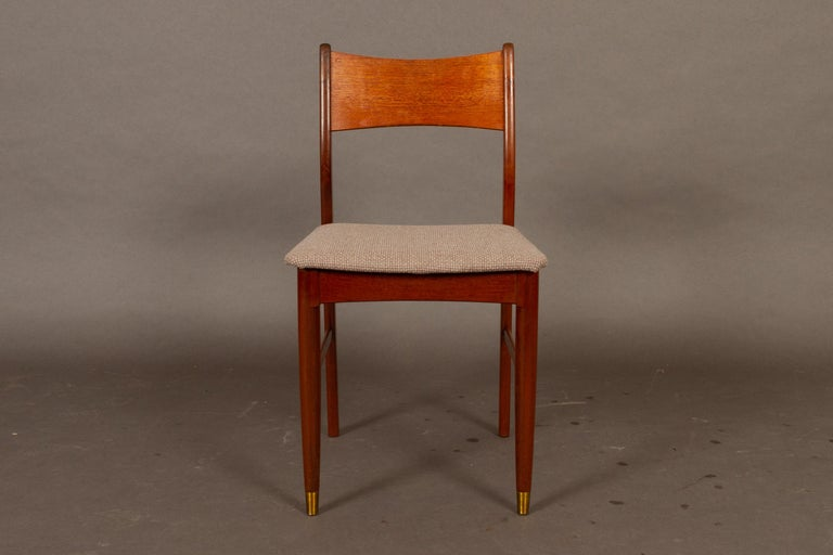 Mid-Century Modern Vintage Danish Teak Dining Chairs 1950s Set of 4 For Sale