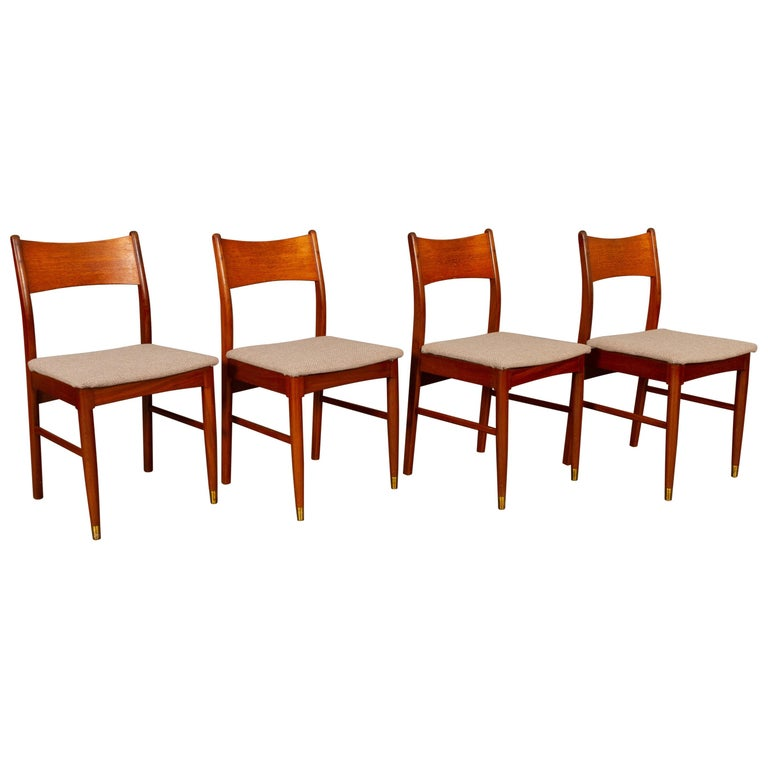 Vintage Danish Teak Dining Chairs 1950s Set of 4 For Sale