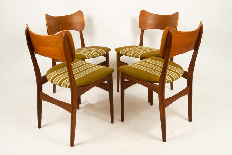 Vintage Danish teak dining chairs 1960s set of 4