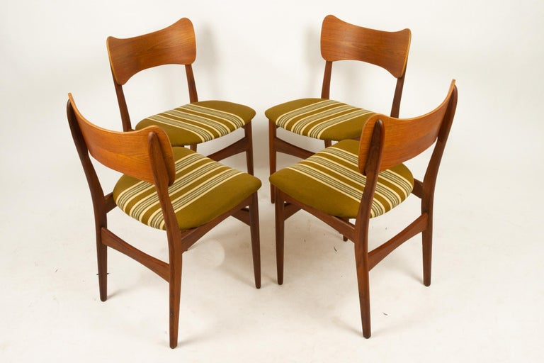 Mid-Century Modern Vintage Danish Teak Dining Chairs 1960s Set of 4 For Sale