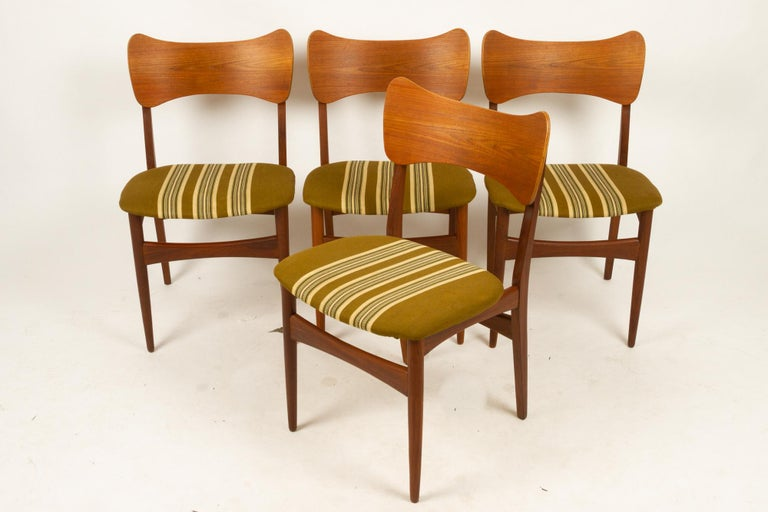 Mid-20th Century Vintage Danish Teak Dining Chairs 1960s Set of 4 For Sale