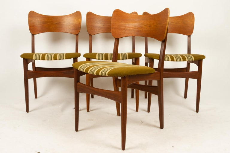 Vintage Danish Teak Dining Chairs 1960s Set of 4 For Sale 1