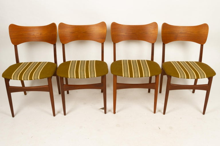 Vintage Danish Teak Dining Chairs 1960s Set of 4 For Sale 2