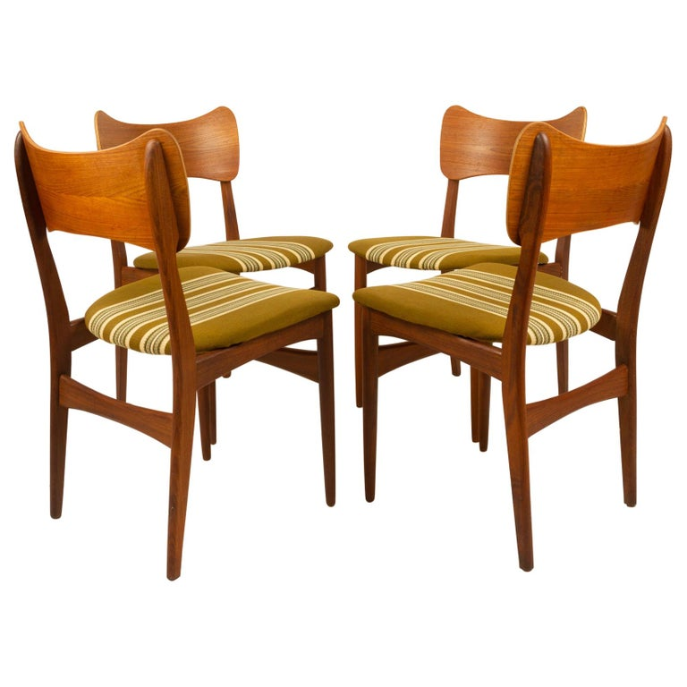 Vintage Danish Teak Dining Chairs 1960s Set of 4 For Sale