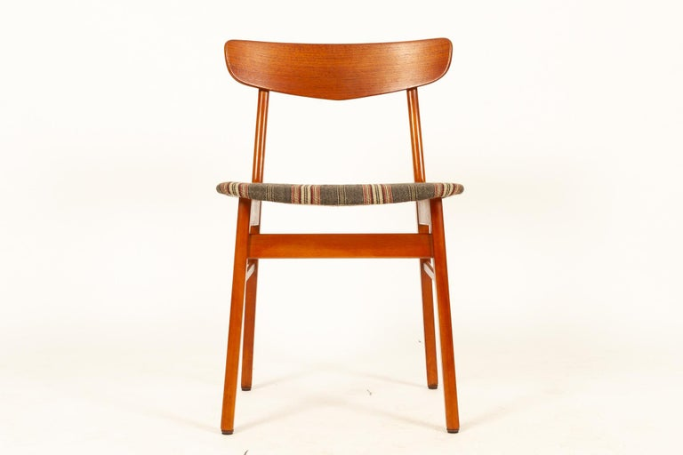 Vintage Danish Teak Dining Chairs 1960s Set of 6 For Sale 9