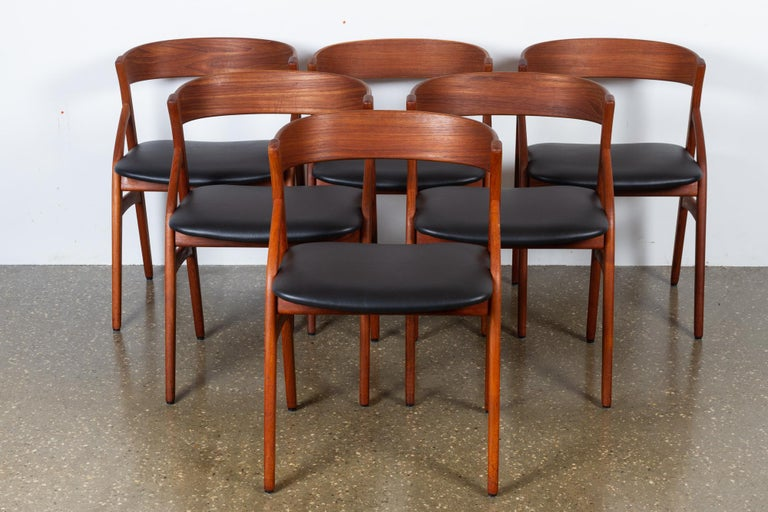 Mid-Century Modern Vintage Danish Teak Dining Chairs 1960s Set of 6 For Sale