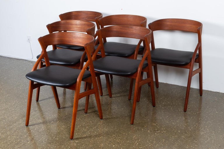 Vintage Danish Teak Dining Chairs 1960s Set of 6 In Good Condition For Sale In Nibe, Nordjylland