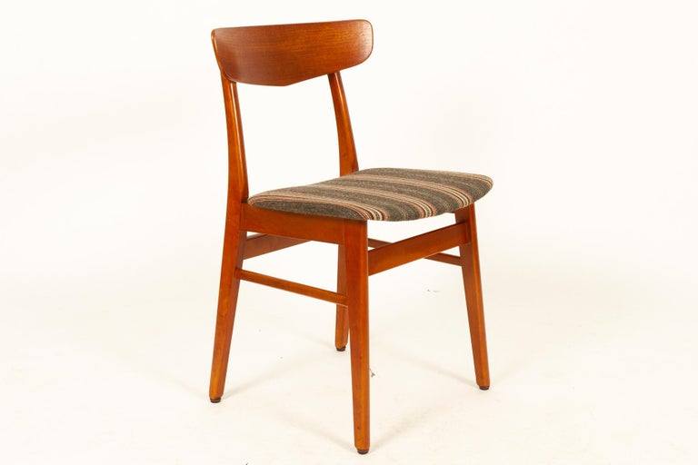 Mid-20th Century Vintage Danish Teak Dining Chairs 1960s Set of 6 For Sale