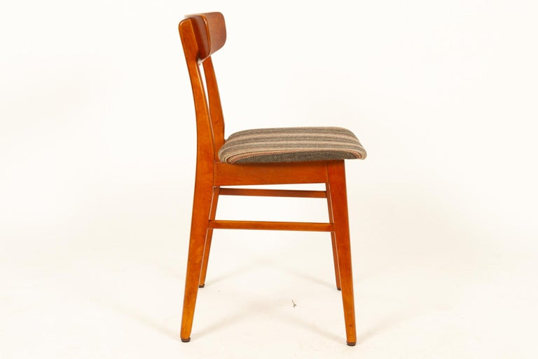 Beech Vintage Danish Teak Dining Chairs 1960s Set of 6 For Sale