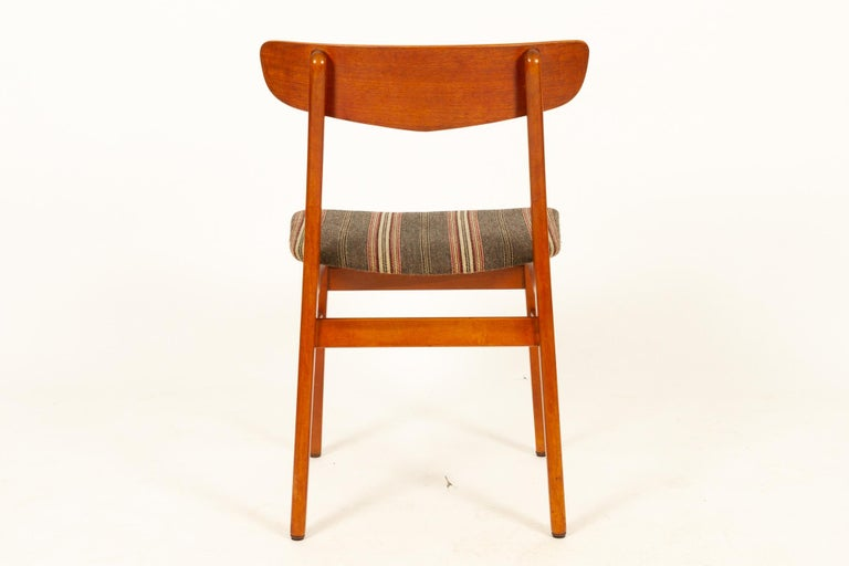 Vintage Danish Teak Dining Chairs 1960s Set of 6 For Sale 2