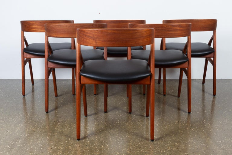 Vintage Danish Teak Dining Chairs 1960s Set of 6 For Sale 3