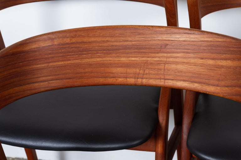 Vintage Danish Teak Dining Chairs 1960s Set of 6 For Sale 4