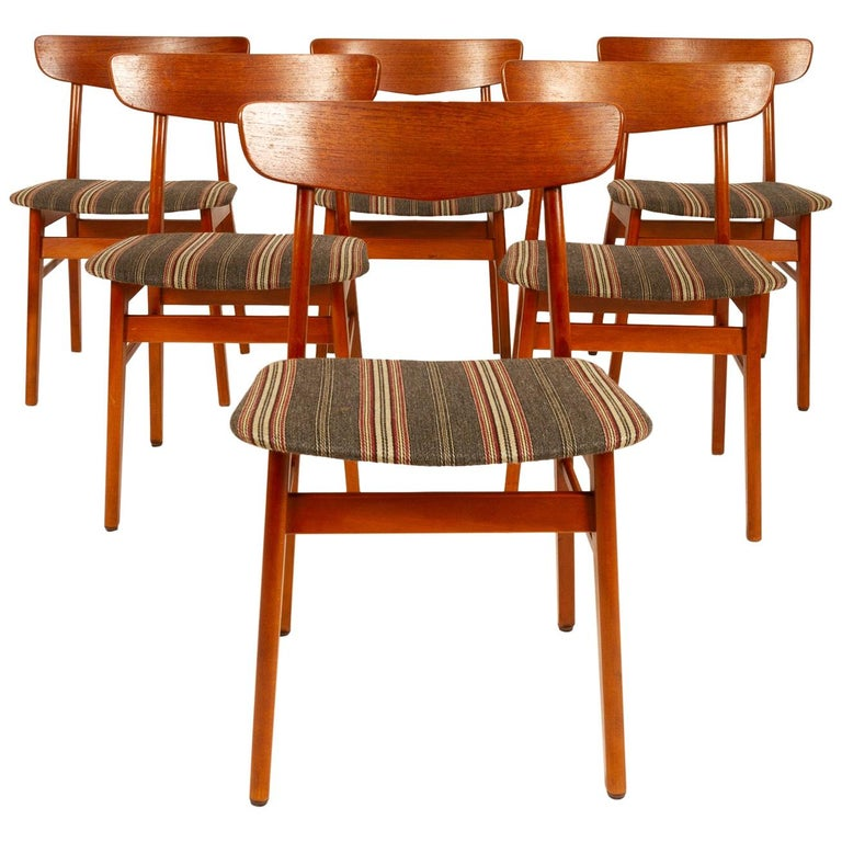 Vintage Danish Teak Dining Chairs 1960s Set of 6 For Sale