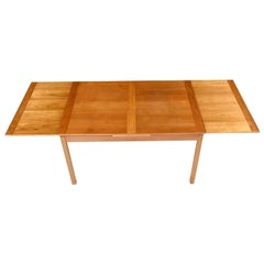 Vintage Danish Teak Dining Table, Beech Legs with Draw Leaf by Ansager Mobler