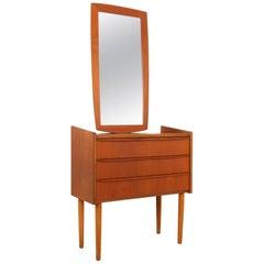 Vintage Danish Teak Hallway Mirror and Dresser, 1960s, Set of 2
