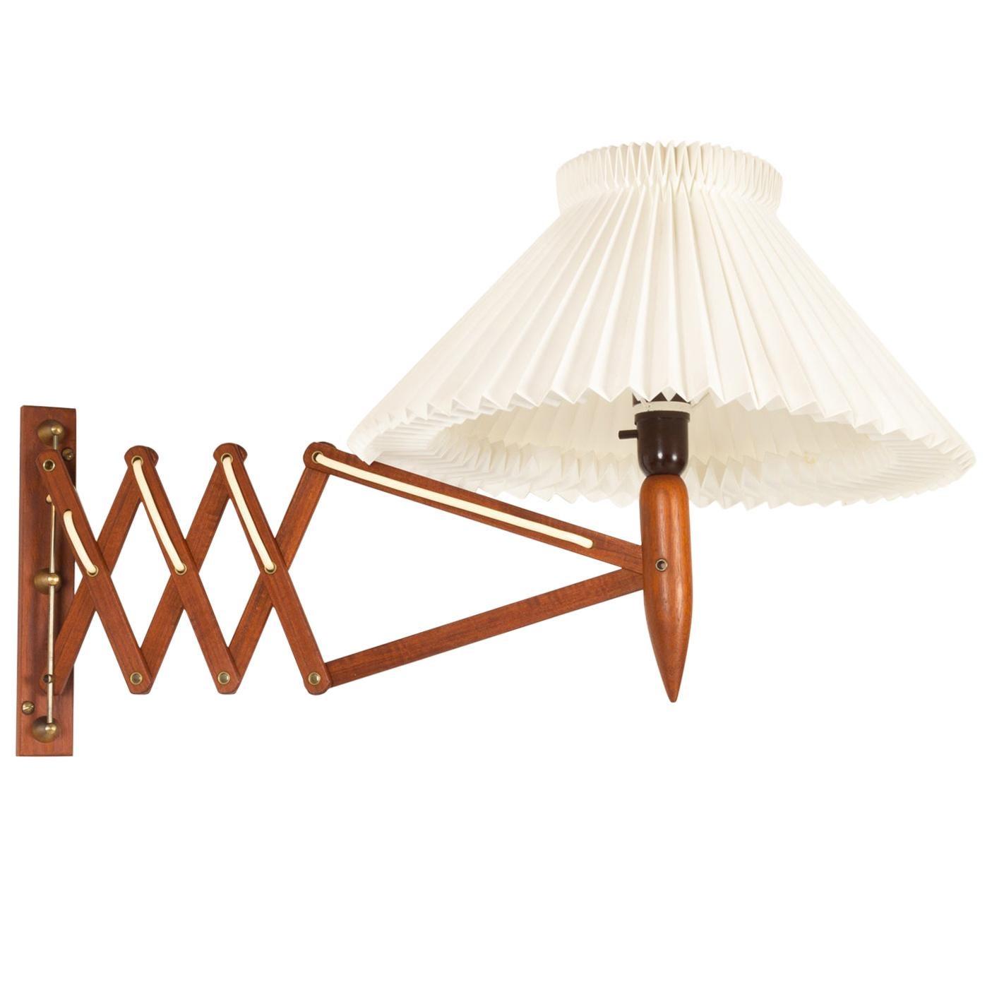 Vintage Danish Teak Scissor Wall Lamp by Lyfa, 1960s