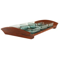 Vintage Danish Teak Tray with Glass Bowls by Jens Harald Quistgaard, 1960s